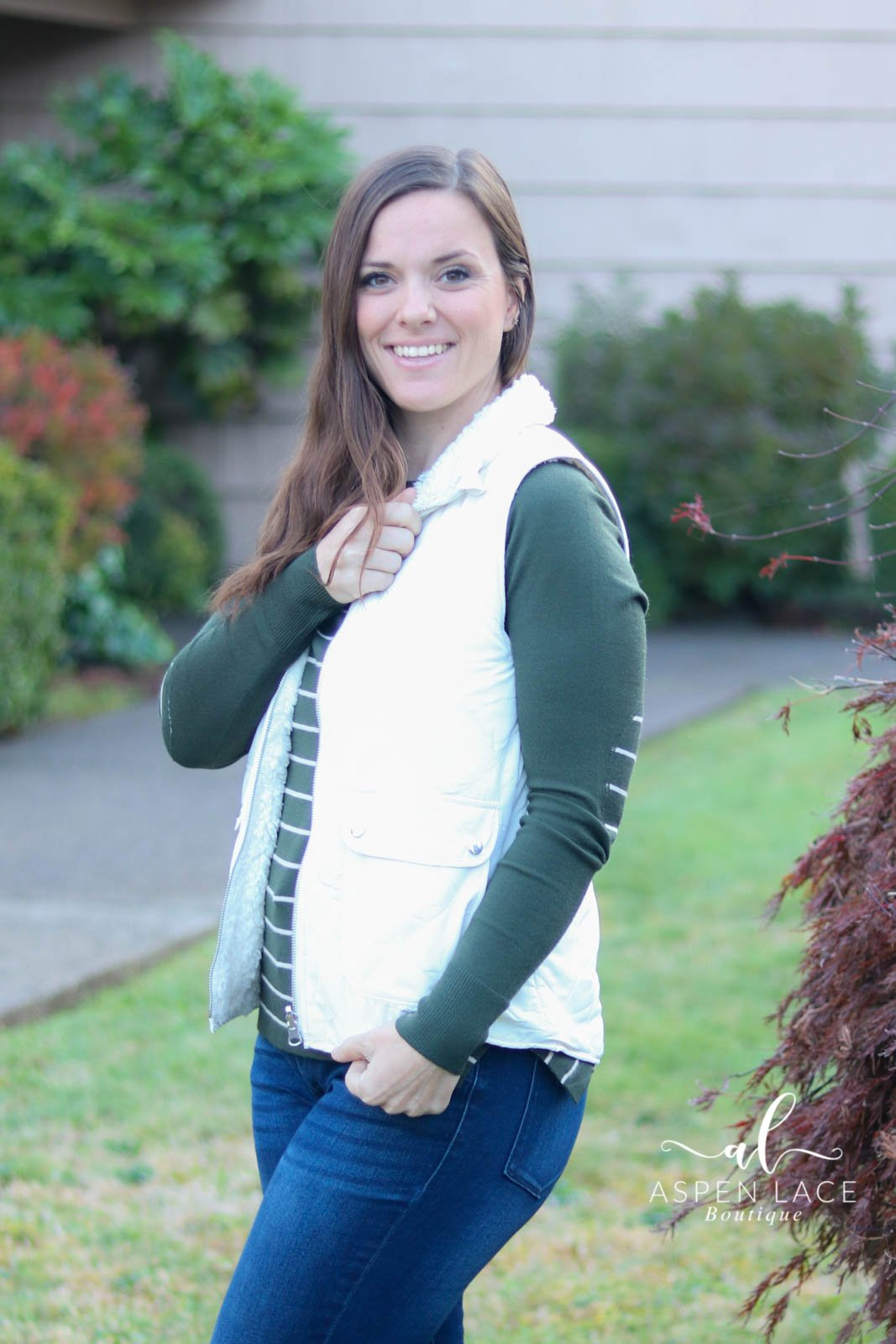 Fawna Quilted Vest (Cream) -Curvy-