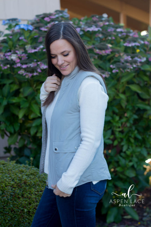 *Final Sale* Fawna Quilted Vest (Grey)