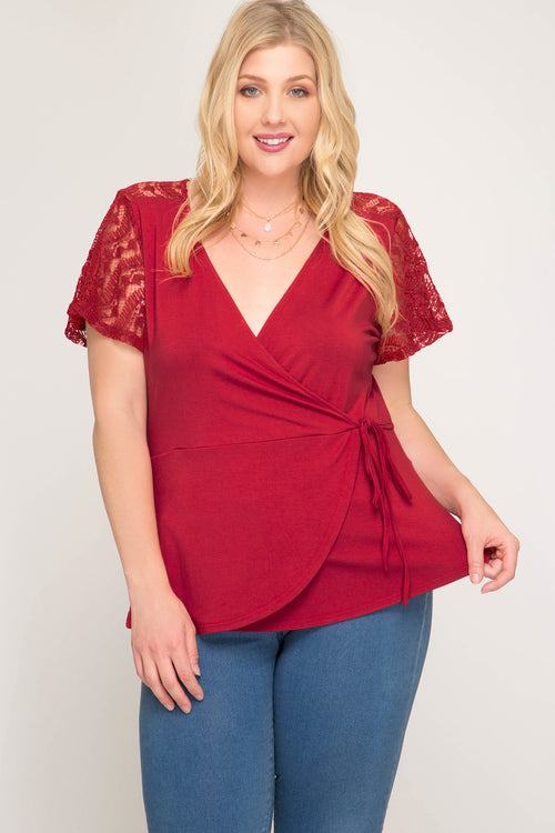 Amare Lace Detail Top- Curvalicious (Red)