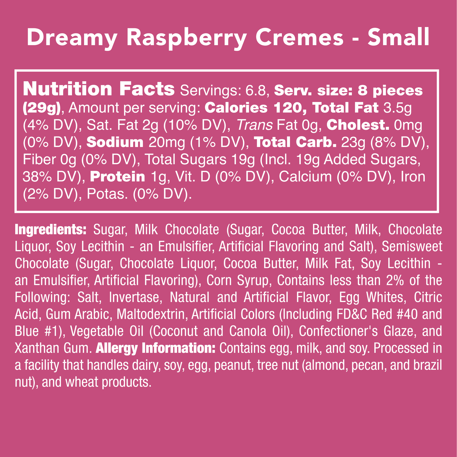 Candy Club Dreamy Raspberry Cremes