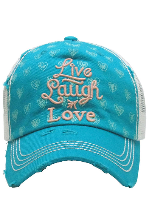 Live Laugh Love Vintage Hat (Turquoise)