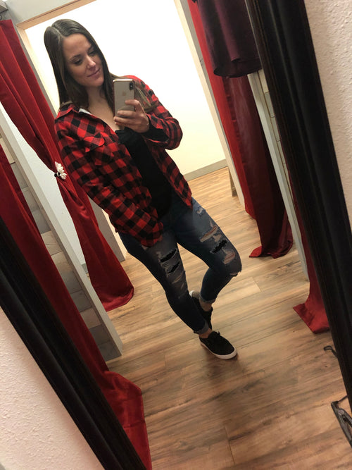 Shyra Flannel (Red + Black)