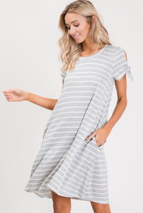 Lorelai Striped Dress (Heather Grey)