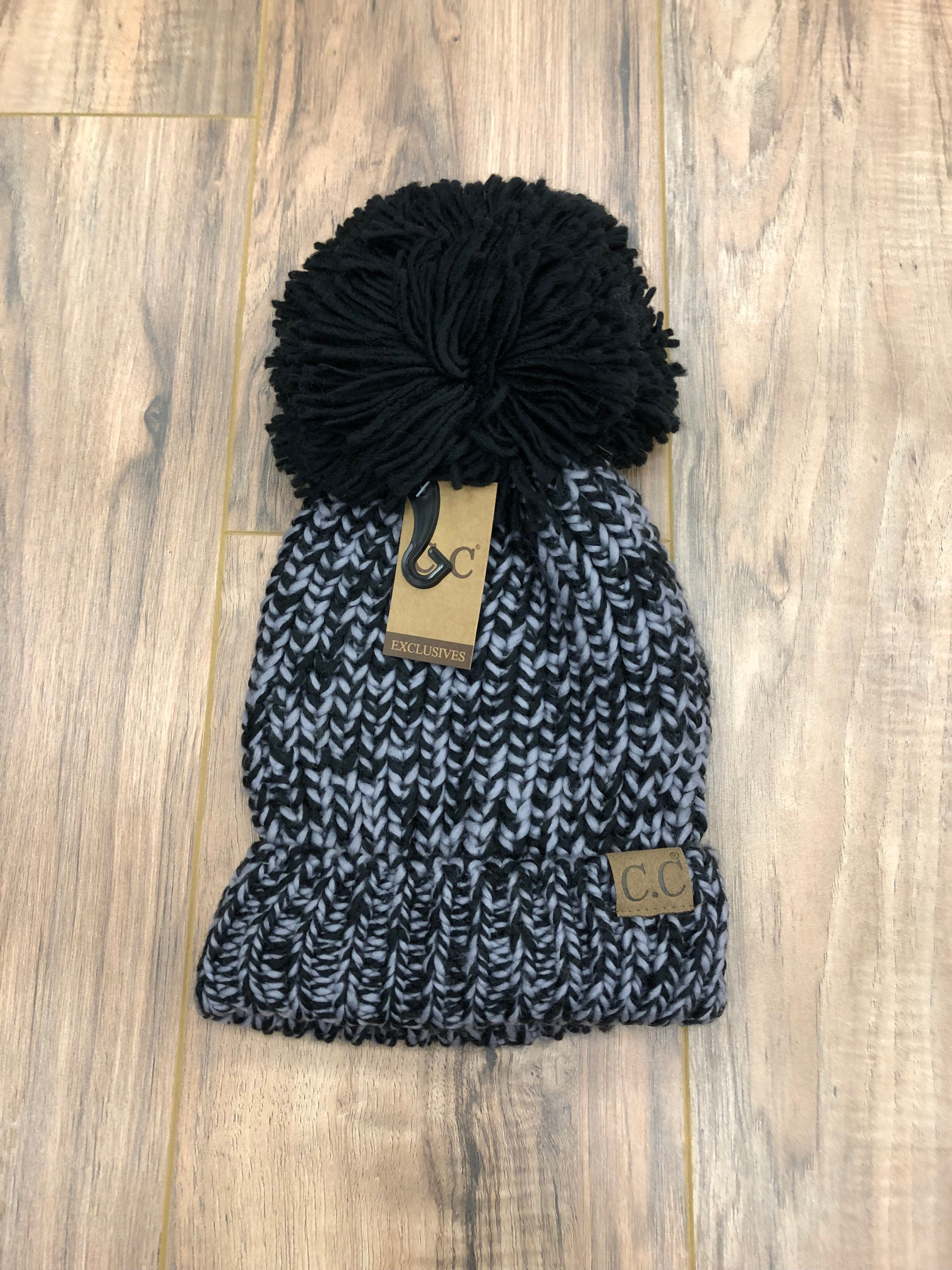 Two Tone Knit Pom CC Beanie (Multiple Colors)
