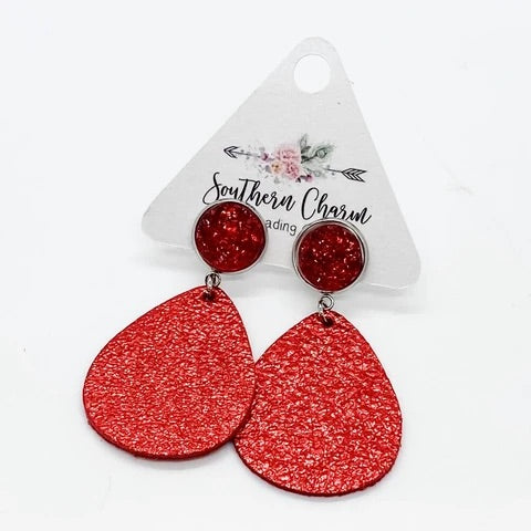 Metallic Red Dangle Earrings