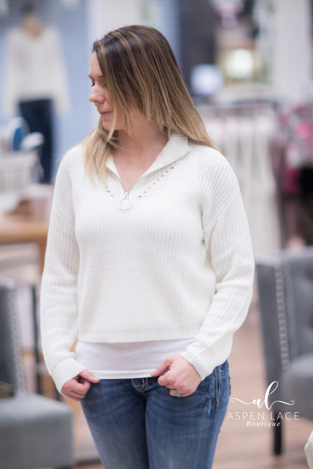 April Quarter Zip (Ivory)