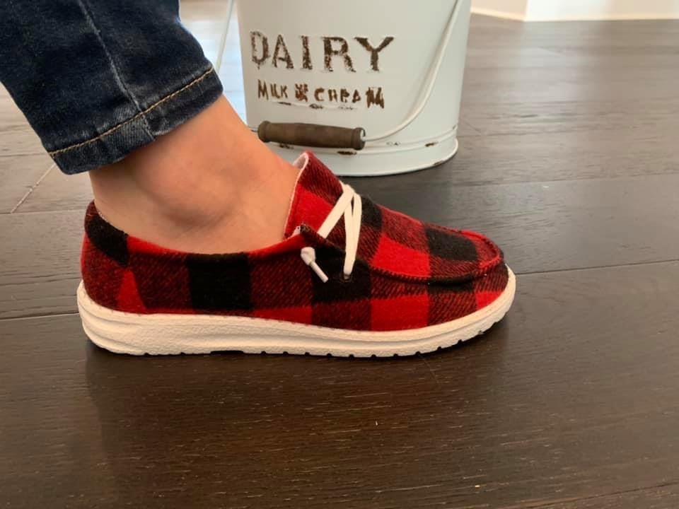 Holly Boat Shoes (Buffalo Plaid)
