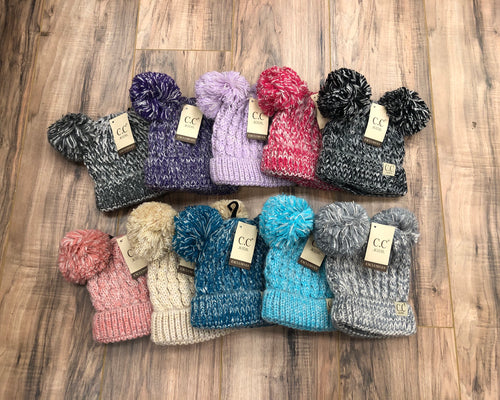 Kids Multi Tone Double Pom CC Beanie (Multiple Colors)