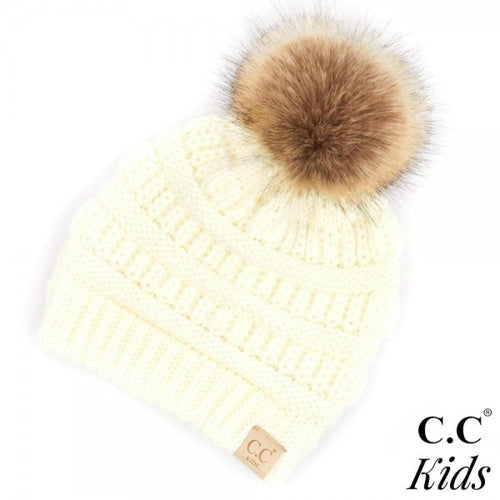 Kids Faux Fur Pom Beanies (Multiple Colors)