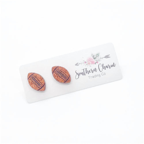 Glitter Football Stud Earrings