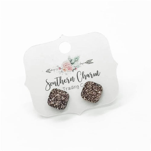 Mienna Druzy Square Earrings (Multiple Colors)