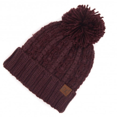 Slip Stitch Pom CC Beanies (Multiple Colors)