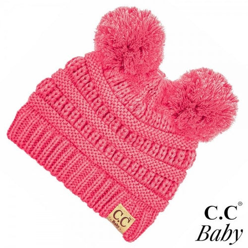 Solid Double Pom Baby CC Beanies (Multiple Colors)