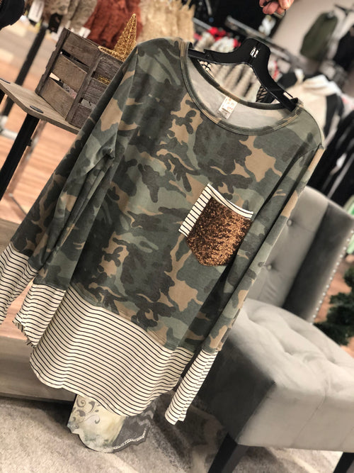 Raylee Sequin Top (Camo)