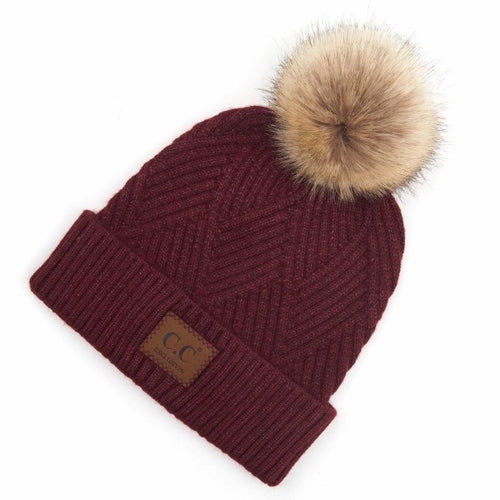 Diagonal Stripe Fur Pom Beanies (Multiple Colors)