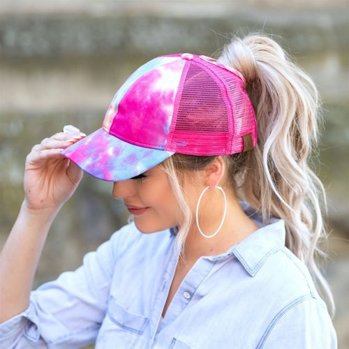 CC Tie Dye Ponytail Hats (Multiple Colors)