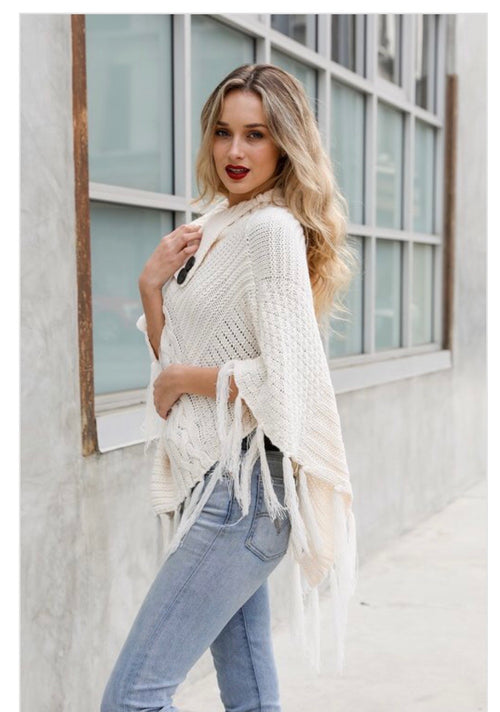 *Final Sale* Yevette Poncho (Ivory)