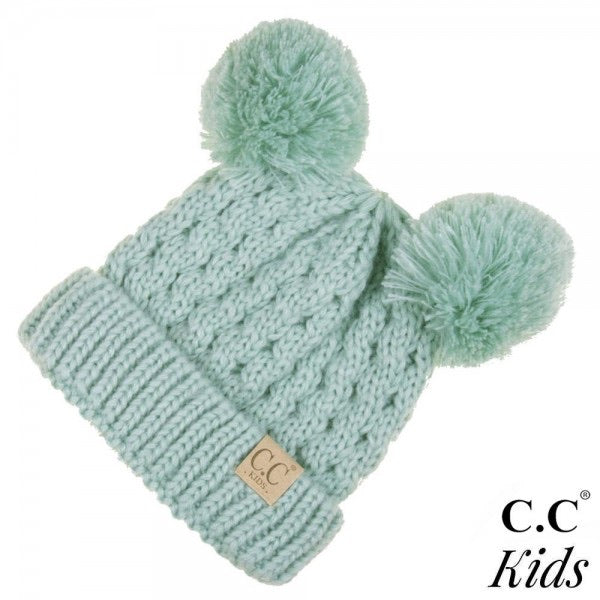 Kids Double Pom Solid CC Beanies (Multiple Colors)
