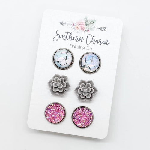 White Glitter Leaf Trio Earring Set