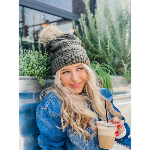 Whip Stitch Slouchy Pom CC Beanies (Multiple Colors)