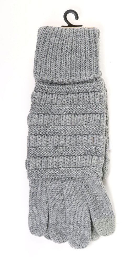 Solid Cable Knit CC Gloves (Multiple Colors)