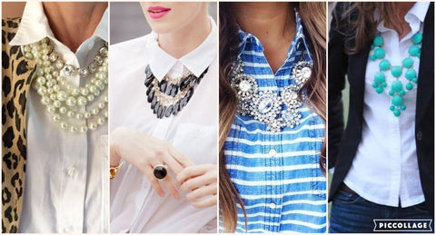 Layering Necklace over Button Up Shirt