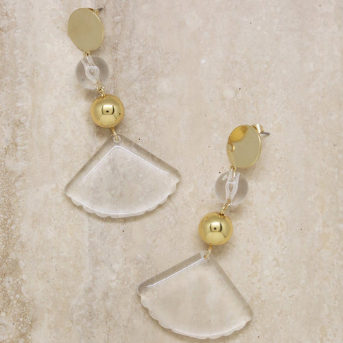 Transparent Soul 18K Gold & Resin Earrings - Working Look