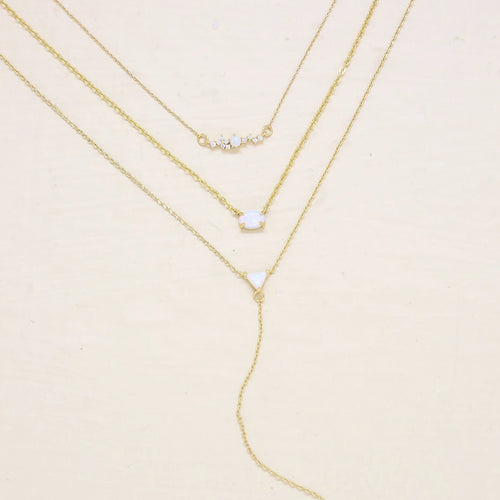 Three's a Charm Layered Lariat Necklace Set - Working Look