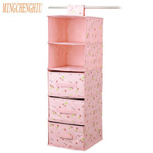 Hanging Wardrobe Organizer and Drawers - Pink - Working Look