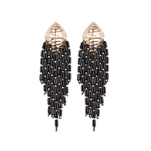 Disco Darling Black Beaded Earrings - Working Look