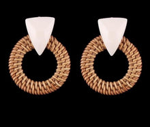 Boho Glam Rattan Weave Earrings - Working Look