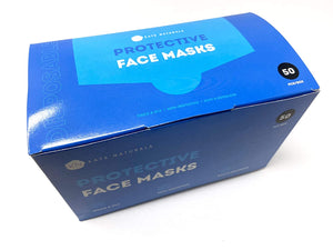 Disposable Face Masks for Women, Men, Kids by Kate Naturals - 50 Protective Masks, 4 Ply Face Mask with Earloops and Strong Metal Nose Bridge for Adjustable Fit.