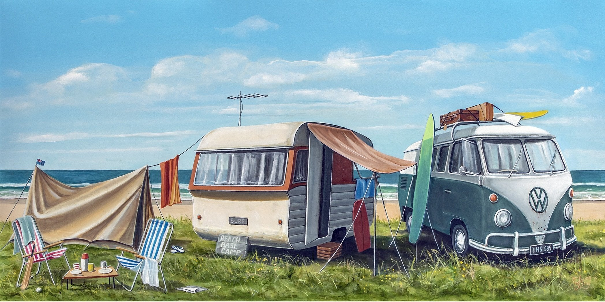 Beach Base Camp - grahamyoungartist.com - Original Artwork and Prints by New Zealand Artist Graham Young