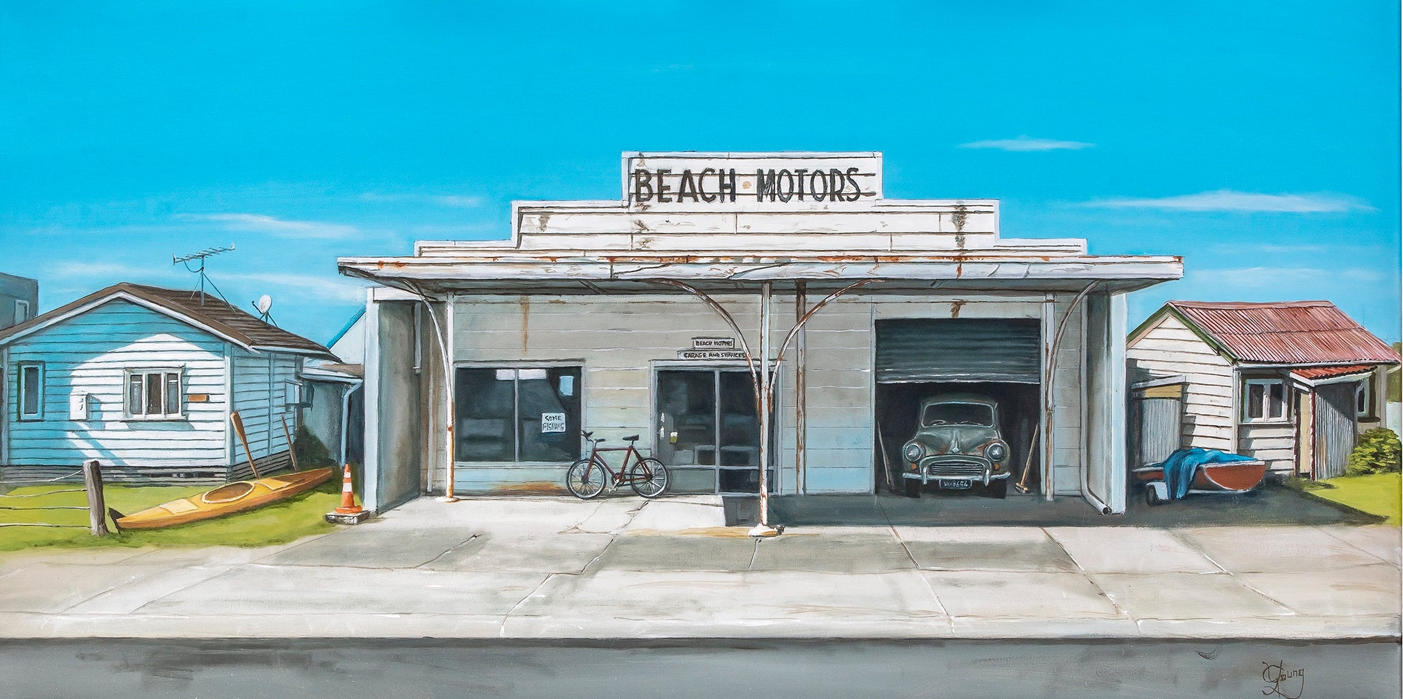 Waihi Beach Motors - grahamyoungartist.com - Original Artwork and Prints by New Zealand Artist Graham Young