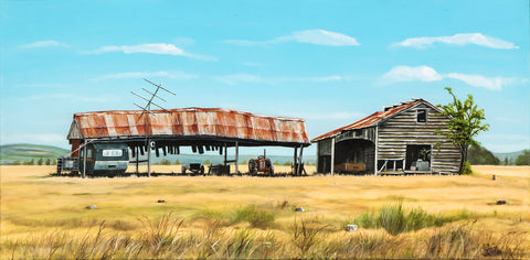 Canterbury Plains Barn - grahamyoungartist.com - Original Artwork and Prints by New Zealand Artist Graham Young