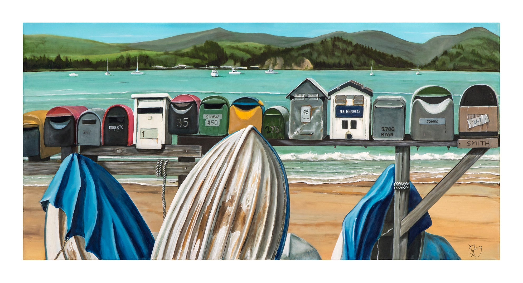 Coastal Postboxes - grahamyoungartist.com - Original Artwork and Prints by New Zealand Artist Graham Young