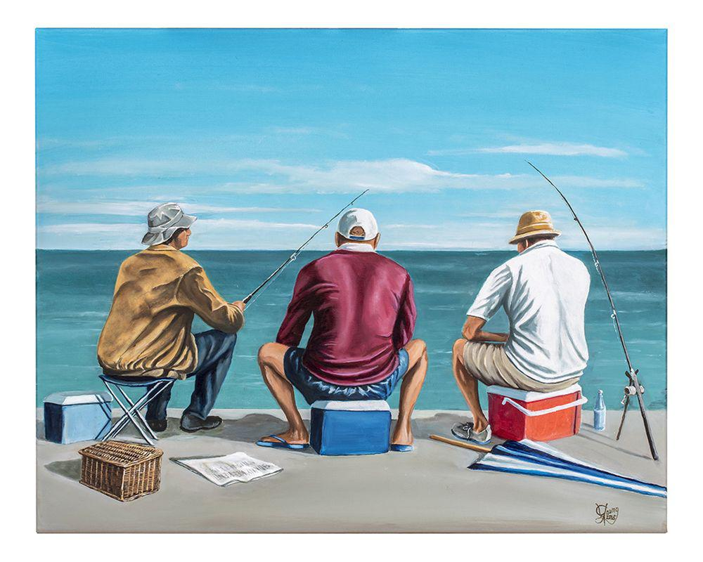 Fishing Mates Prints - grahamyoungartist.com - Original Artwork and Prints by New Zealand Artist Graham Young