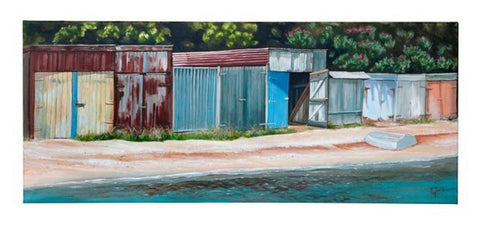 Kawakawa Bay Boatsheds Prints - grahamyoungartist.com - Original Artwork and Prints by New Zealand Artist Graham Young