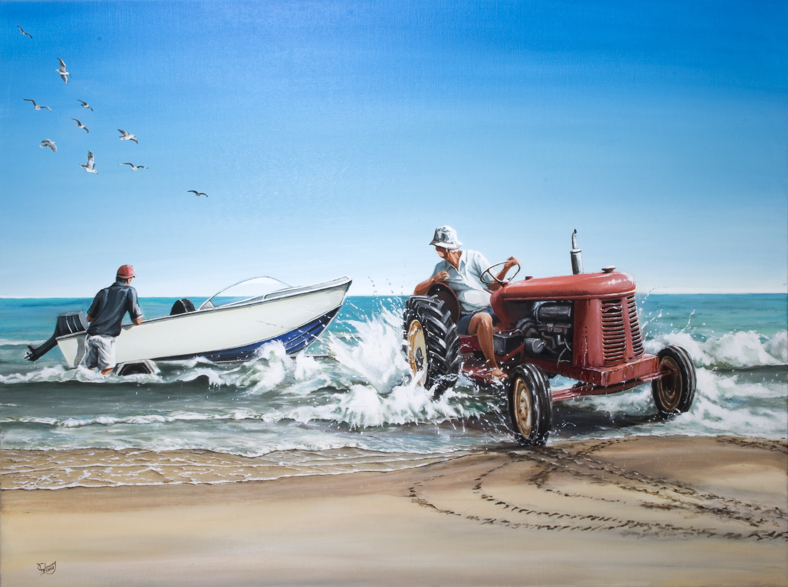 Launching the Boat Prints - grahamyoungartist.com - Original Artwork and Prints by New Zealand Artist Graham Young