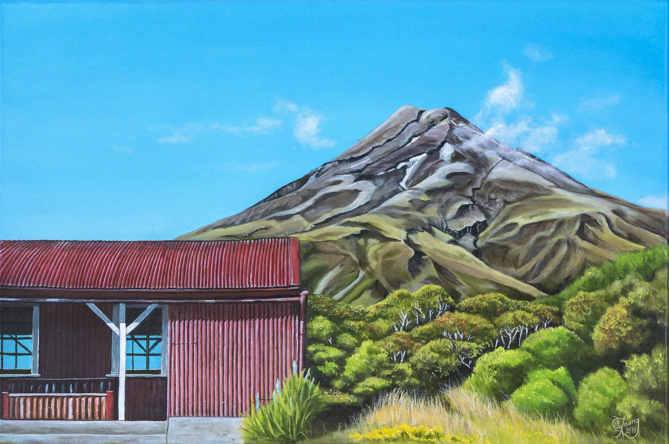 Mount Taranaki in Summer - grahamyoungartist.com - Original Artwork and Prints by New Zealand Artist Graham Young