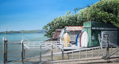 Rocky Bay Boatsheds Prints - grahamyoungartist.com - Original Artwork and Prints by New Zealand Artist Graham Young