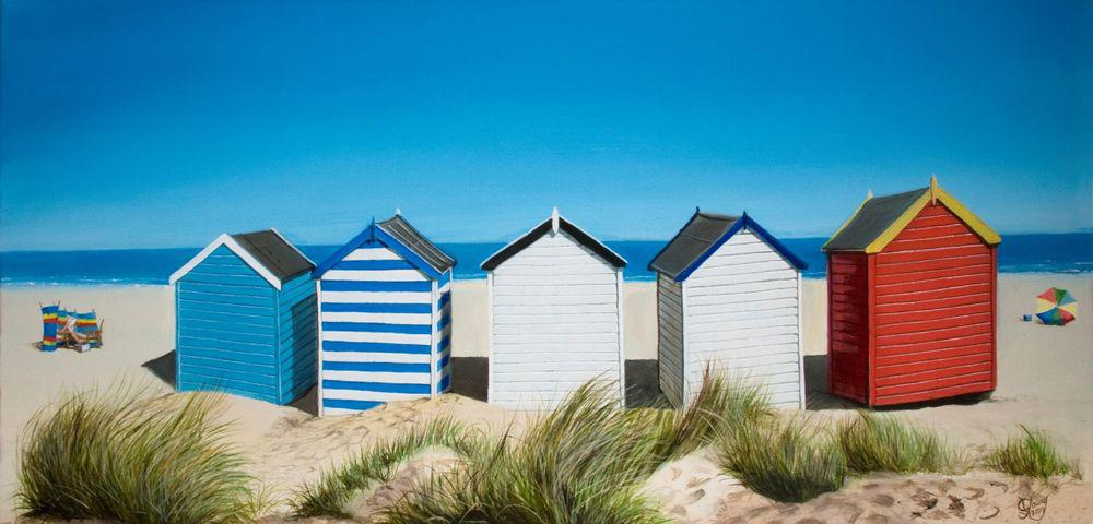 Row of Beach Huts Prints - grahamyoungartist.com - Original Artwork and Prints by New Zealand Artist Graham Young