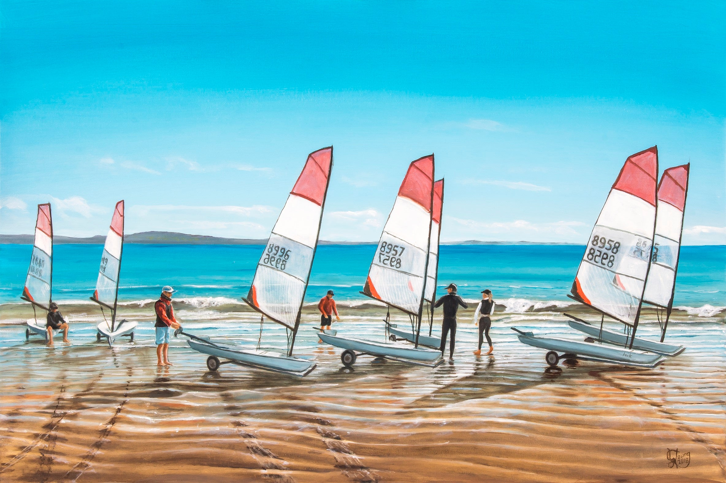 Sails at Manly Beach - grahamyoungartist.com - Original Artwork and Prints by New Zealand Artist Graham Young
