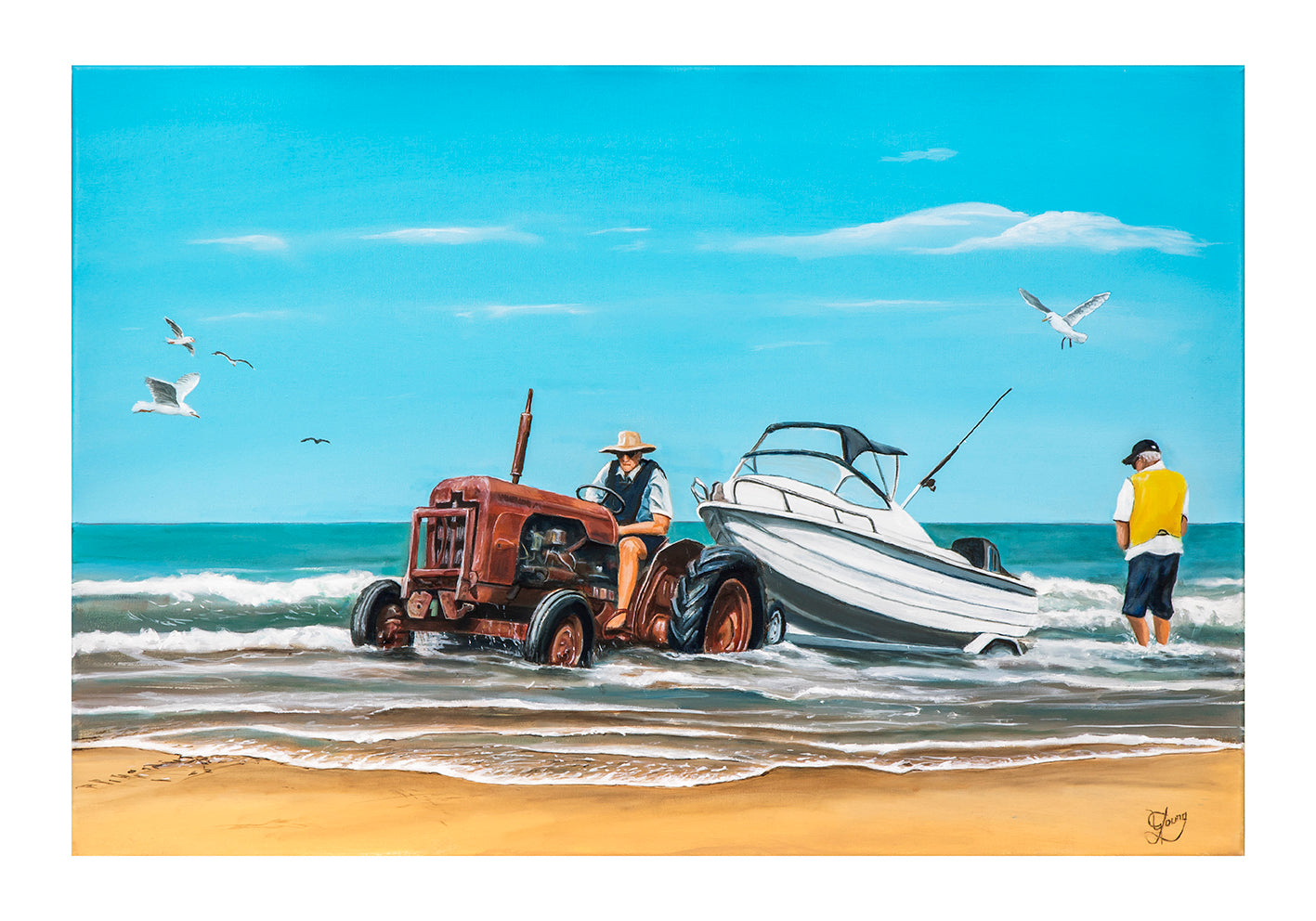 Towing the boat ashore - grahamyoungartist.com - Original Artwork and Prints by New Zealand Artist Graham Young