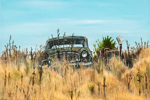 Wrecked Humber in Slumber - grahamyoungartist.com - Original Artwork and Prints by New Zealand Artist Graham Young