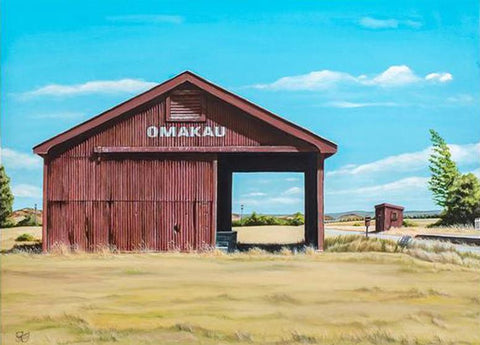 Omakau Rail Shed - grahamyoungartist.com - Original Artwork and Prints by New Zealand Artist Graham Young