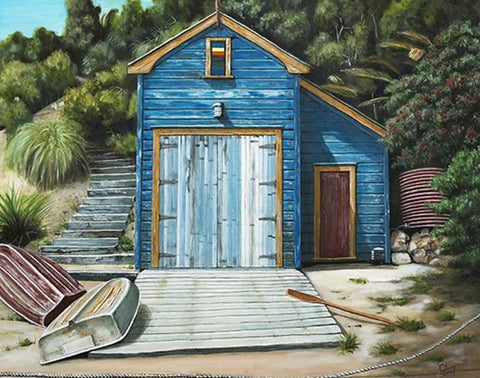Little Oneroa Boatshed Prints - grahamyoungartist.com - Original Artwork and Prints by New Zealand Artist Graham Young