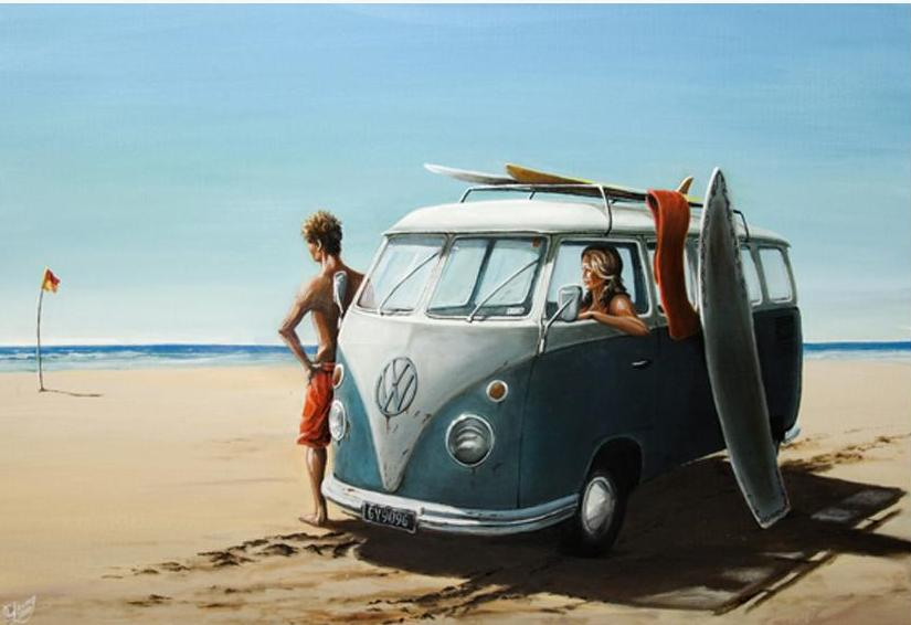 Surf Wagon Prints - grahamyoungartist.com - Original Artwork and Prints by New Zealand Artist Graham Young