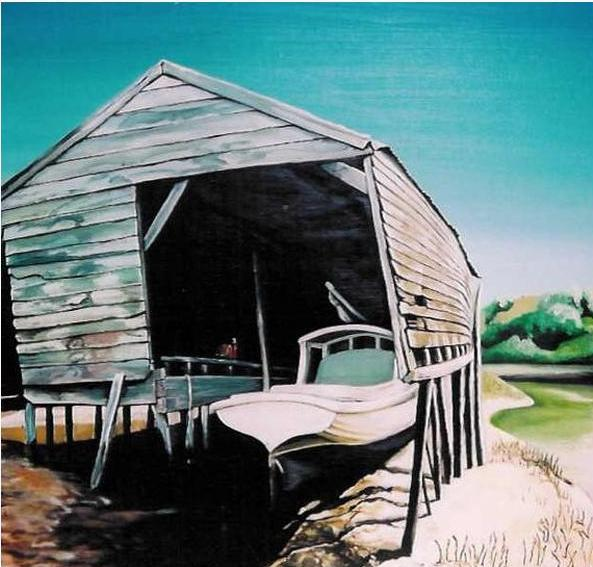 Whangateau Boatshed Limited Edition Prints - grahamyoungartist.com - Original Artwork and Prints by New Zealand Artist Graham Young