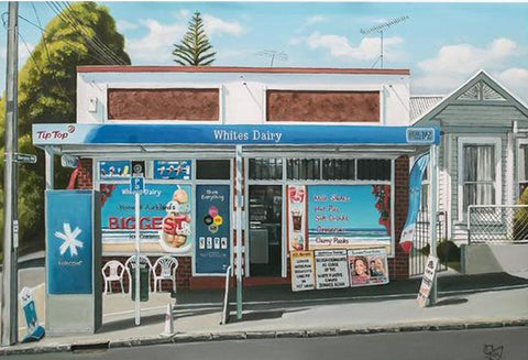 Whites Dairy Prints - grahamyoungartist.com - Original Artwork and Prints by New Zealand Artist Graham Young